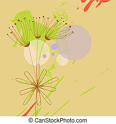 Grunge background with flowers