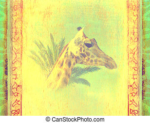 grunge background with giraffe and palm