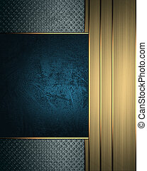 Grunge background with gold ribbons on edge and blue plate -...