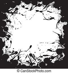 Grunge background with ink splat effect. Vector
