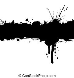 Grunge background with ink strip and blots with copy space