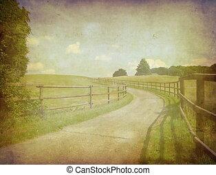Grunge background with landscape
