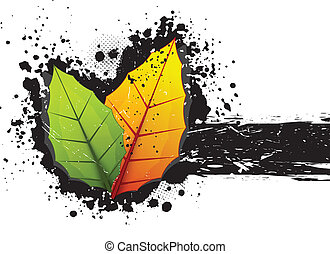 Grunge background with leaves