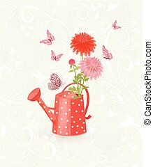 grunge background with lovely chrysanthemums in a vintage red ca