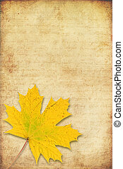 grunge background with maple autumn leave - grunge...
