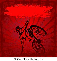 grunge background with MTB cyclist