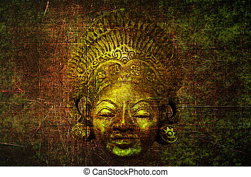 Grunge background with old culture-historic mask and space...