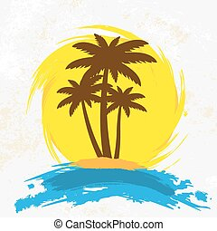 Grunge background with palm trees, vector