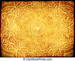 Grunge background with paper texture and floral ornament in Moroccan style