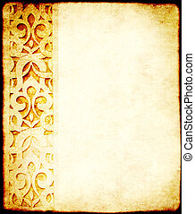 Grunge background with paper texture and ornament in Moroccan style