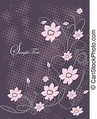 Grunge background with pink flowers