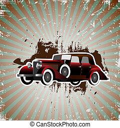 retro car - Grunge background with retro car.Vector...