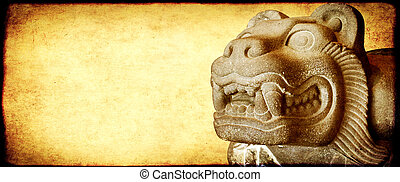 Background with grunge paper texture of yellow color and stone figure of lion. Copy space for text