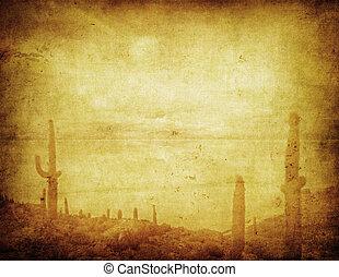 grunge background with wild west landscape - grunge...