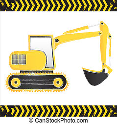 grunge backhoe on white background with lines