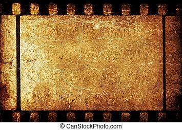 grunge, bakgrund., årgång, filmstrip, 35mm, retro