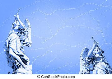 grunge, bakgrund, angels.