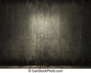 grunge, bakgrund, av, konkret, rum