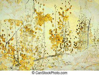 grunge, bakgrund, konst, gul blomma