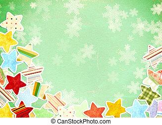 grunge, bakgrund, med, papper, stjärnor, och, snöflingor