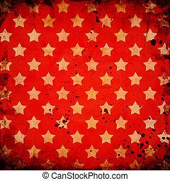 grunge, bakgrund, Stjärnor, röd