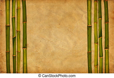 Grunge bamboo and paper background
