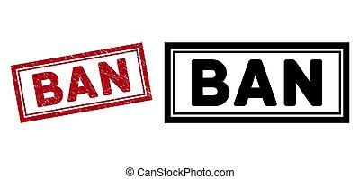 Grunge Ban Rectangle Frame Watermark