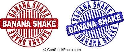 Grunge BANANA SHAKE Scratched Round Stamps