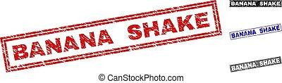 Grunge BANANA SHAKE Textured Rectangle Stamp Seals