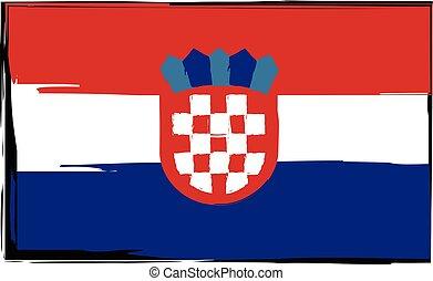 grunge, bandeira croácia, bandeira, ou