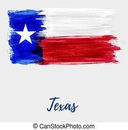 grunge, bandeira, de, a, estado texas