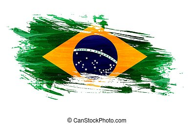 grunge, bandeira, de, brasil