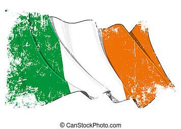 grunge, bandeira, de, irlanda