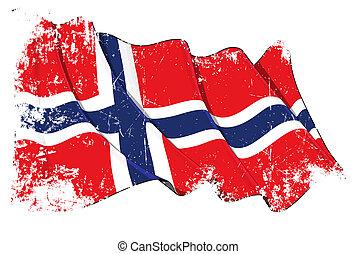 grunge, bandeira, de, noruega