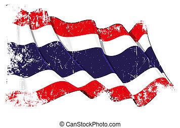 grunge, bandeira, de, tailandia