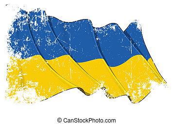 grunge, bandeira, de, ucrânia
