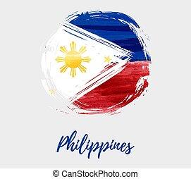 grunge, bandeira filipinas, forma, fundo, redondo