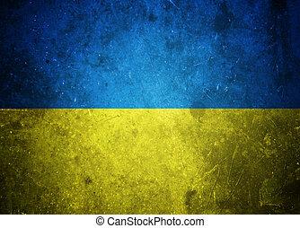 grunge, bandeira ukrainian, ilustração