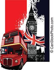 grunge, bandera, con, londres, y, autobús