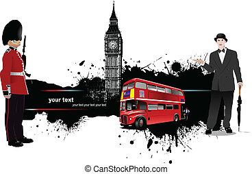 grunge, bandera, con, londres, y, autobús, imágenes