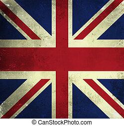grunge, bandera, de, gran bretaña