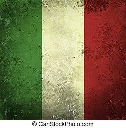 grunge, bandera, de, italia