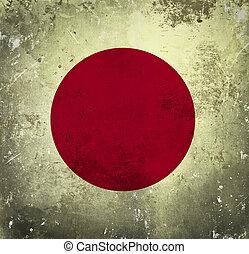 grunge, bandera, de, japón