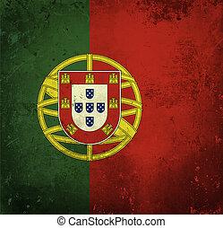 grunge, bandera, de, portugal