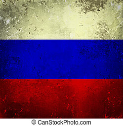 grunge, bandera, de, rusia