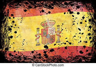 grunge, bandera, españa