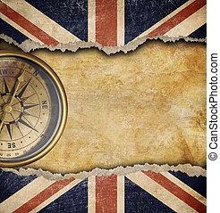 grunge, bandera inglesa, compás, viejo, latón