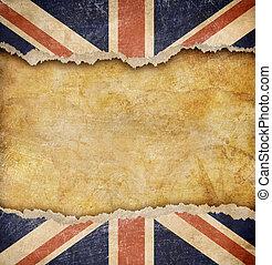grunge, bandera inglesa, y, viejo, mapa