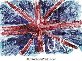 grunge, bandera, od, anglia