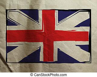 grunge, bandera, reino unido